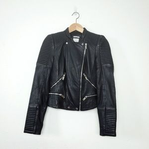 NWT Zara lambskin leather moto biker jacket XS
